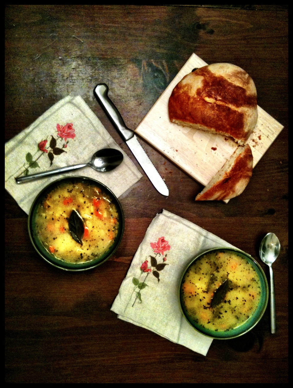 Peasant Boule and Orzo Soup