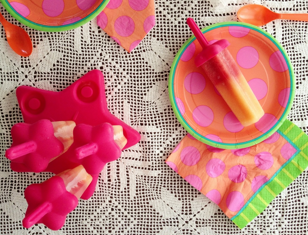 Cantaloupe Honey & Strawberry Watermelon Popsicles